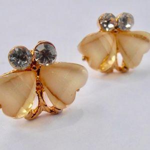Jewelry - Dainty Pale Yellow Butterfly Gold Tone Earrings